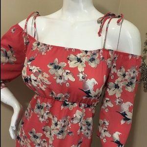 Dresses & Skirts - STUNNING FLORAL SUMMER DRESS SUNDRESS PEACH PINK